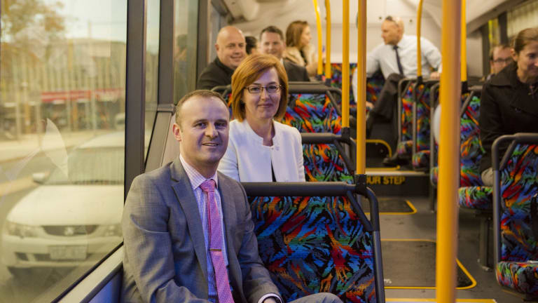 "ACT Chief Minister Andrew Barr and Transport Minister  Meegan Fitzharris on the new ""city loop"" bus service."