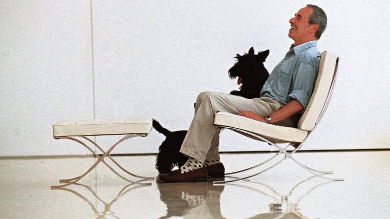 Interior designer George Freedman with his Scottish terriers.
