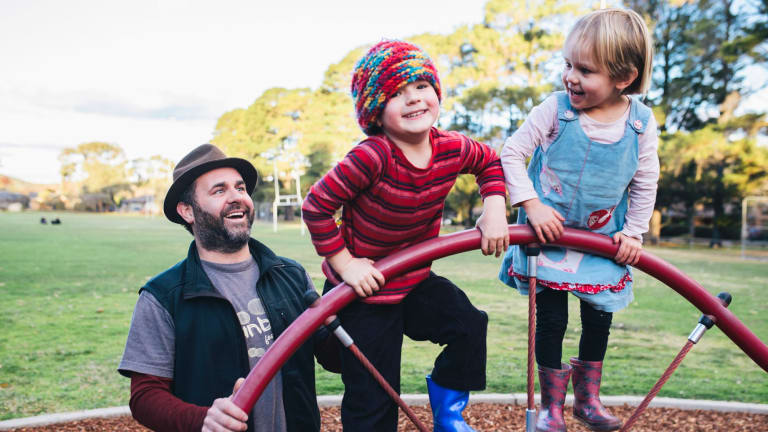 Stay-at-home dad: Dan Watters with his two children Sam, 6, and Tilley, 4.