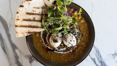 The Chana dhal is rich with coconut cream and cumin seed butter.