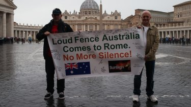 Speaking out: Paul Levey and Andrew Collins, victims of child abuses, are pictured in front of the Vatican.