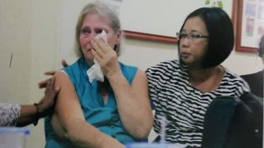 Denise Deane (left) and Sari Iskawari from the Jodie O'Shea Orphanage at the mediation meeting on September 7.