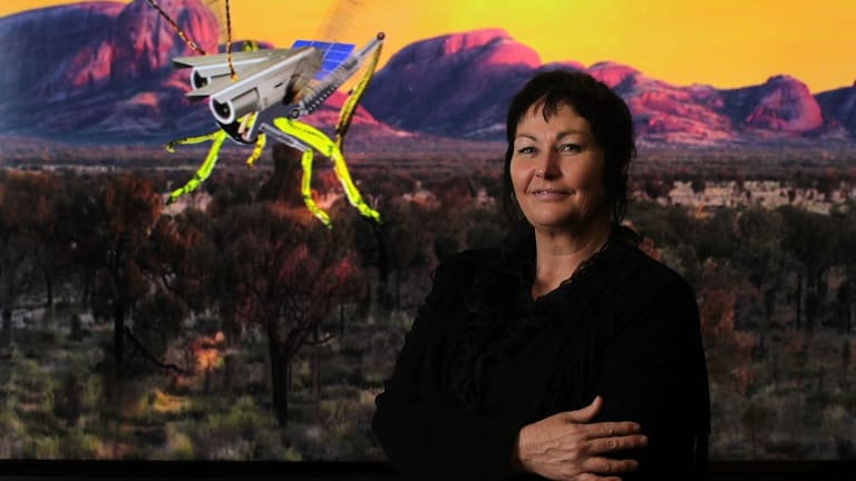Artist Joan Ross, winner of the Ravenswood women's art prize, with her computer animated video called Colonial Grab.