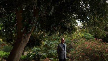 Trevor Pitkin in the north-west corner of Melbourne University's 160-year-old system garden, which is set to make way for a new building.