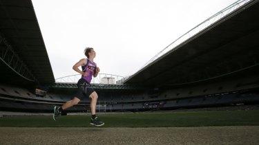 Callum Brown runs the 3km time trial