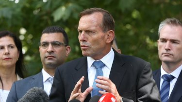 Prime Minister Tony Abbott addresses the media in Sydney on Sunday.