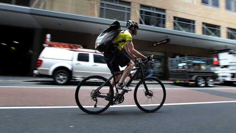 Part-time lane planned: A cyclist on Castlereagh Street.
