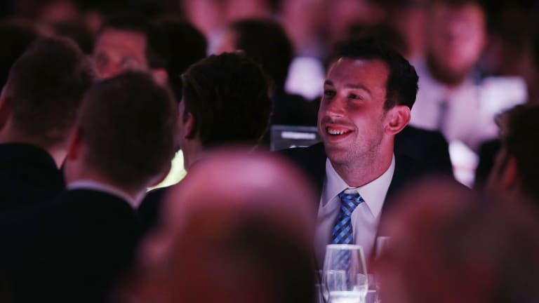 Runner-up MVP Todd Goldstein of the Kangaroos listens to the announcement of the winner.