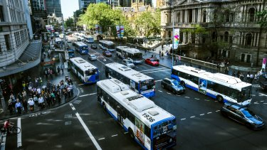 End of an era: buses on George Street on the last business day before construction begins.
