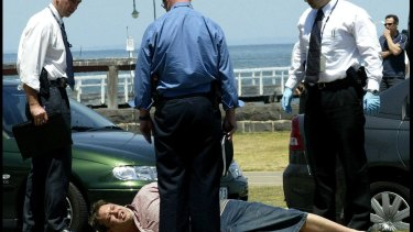 Underbelly's biggest belly: Carl Williams is arrested on Beaconsfield Parade, Port Melbourne.