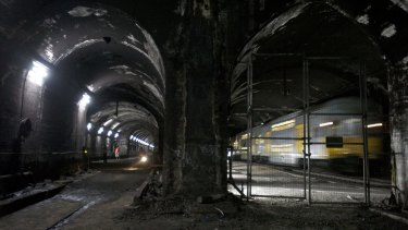 The unused tunnels at St James station when they were being discussed as part of a possible new Metro system in 2008.