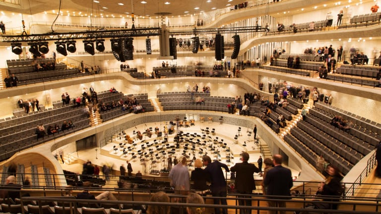 """The """"vineyard-style"""" seating in the Elbphilharmonie concert hall."""