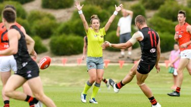 """Play on: Eleni Glouftsis is ready to """"just get on with it"""" in the AFL."""