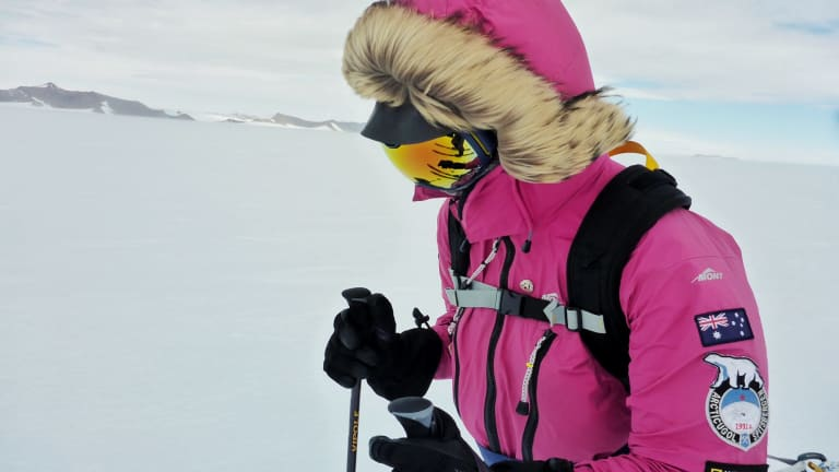 Jade Hameister on her South Pole trek, which she completed on January 10, 2018.