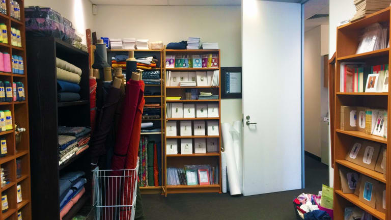 The small but well-stocked Stitch56 outlet in Oakleigh South.
