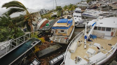 Boats hammered after Cyclone Yasi in 2001.