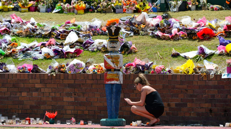 Wreaths at Dreamworld following the deaths of four people in the Thunder Rapids Ride disaster in October.