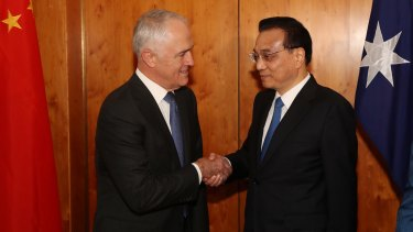 United front: Malcolm Turnbull welcomed the Premier of the State Council of the People's Republic of China, Li Keqiang, to Parliament House on Thursday.