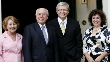 John Howard and his wife Janette show Kevin Rudd and his wife Therese Rein through the Lodge after Rudd's election in November 2007.