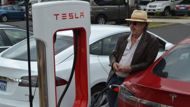 Frank Lister was the first person to charge his electric car at the new supercharger at Eaton near Bunbury.