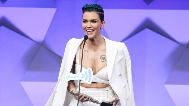 Ruby Rose speaks onstage during the 27th Annual GLAAD Media Awards.