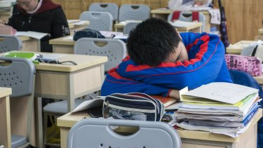 A student catches a quick nap during a meal break at the prestigious Shanghai High School in Shanghai.
