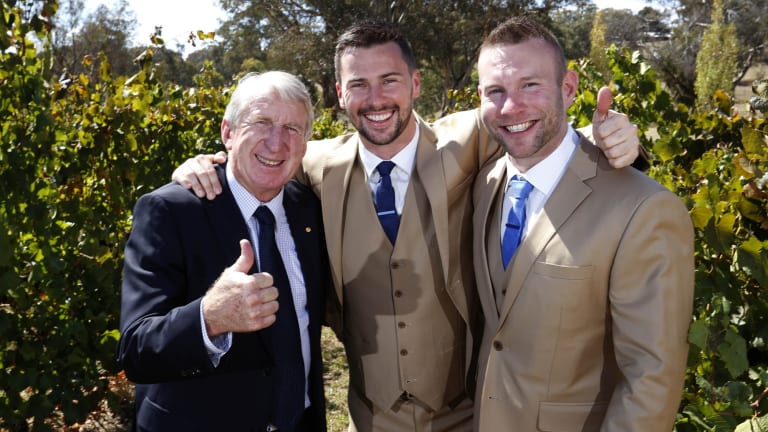 Rugby league great Steve Mortimer with son Matt and Matt's partner Jason on their wedding day at Orange.