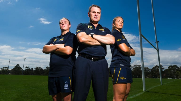 ACT Brumbies women's: Tayla Stanford, coach Tony Doherty and Michaela Leonard.