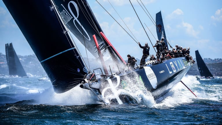 Speed machine: Perpetual Loyal (now known as InfoTrack) leads the fleet out of Sydney harbour en route to victory in last year's race.