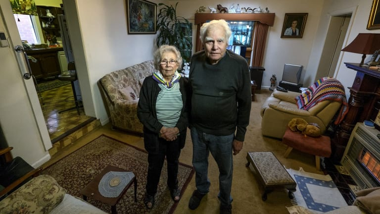 Nadege Morel and Davis Michaud at their Parkville house in April. Their home of more than half a century was acquired for the East West Link.