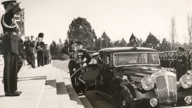 Sir William Slim arrives at Parliament in Canberra, 1954.