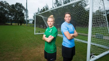 Canberra United international players Laura Bassett and Haley Kopmeyer.