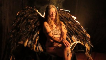 Sue Morse as the dark angel in <i>Rebel Elders</i>.