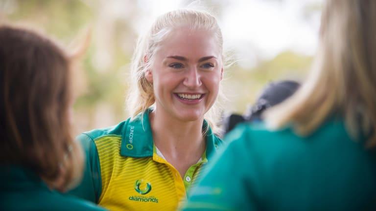 Diamonds defender Jo Weston in Canberra on Thursday.