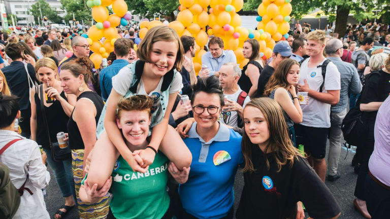 Braddon street party to celebrate the marriage equality vote result. Emma Beer, Kirsten Farrel, and Isla and Xabi Farrel.