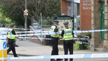 Police cordon off an area after Jo Cox, 41, Labour MP was shot and stabbed by an attacker at her constituency.