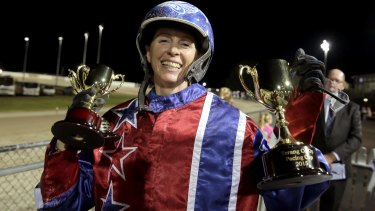 Kerryn Manning accepts the trophies after winning the Terang Pacing Cup with Arden Rooney.