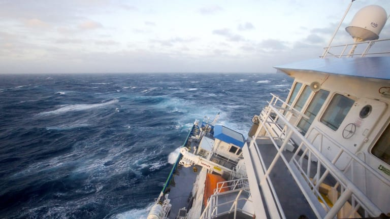Listing: CSIRO's RV Investigator hits in rough weather in the Southern Ocean.