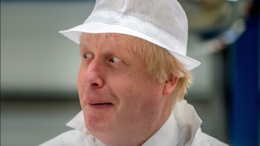 Trying to be seen as serious: Boris Johnson campaigns in Stratford-on-Avon on Monday.
