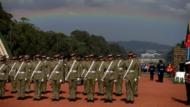 A rainbow marks the Anzac Day national ceremony in Canberra in 2015.