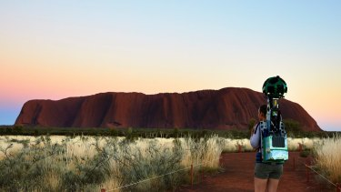 Lindsey Dixon, of Northern Territory Tourism, captured the Street View content at  Uluru-Kata Tjuta National Park in accordance with Tjukurpa law.