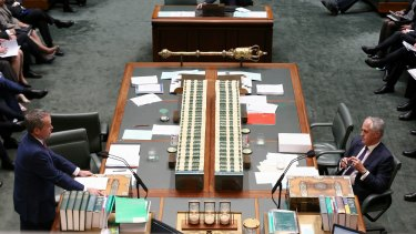 Opposition Leader Bill Shorten and Prime Minister Malcolm Turnbull face off in Parliament.