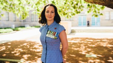 Wing Commander (Ret'd) Sharon Bown at the launch of her book,  One Woman's War and Peace, at the Australian War Memorial.