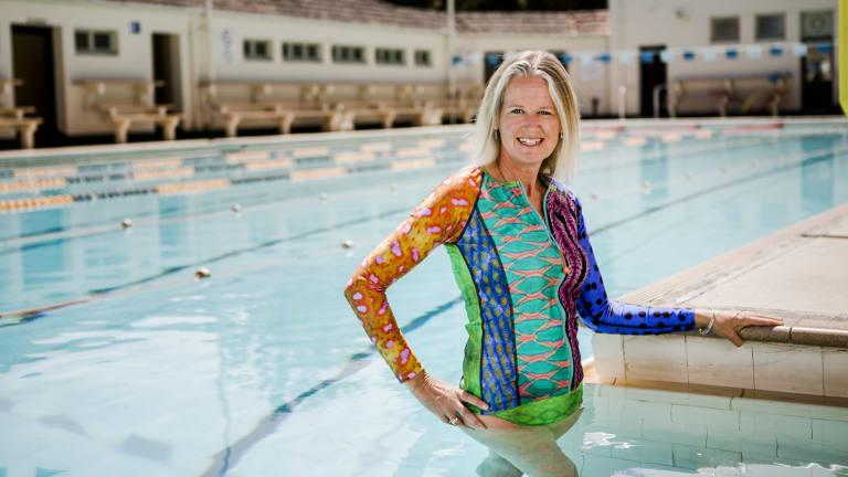 Owner and designer of Solar Bare, Vivien Mitchell, wearing one of her fashvest designs.