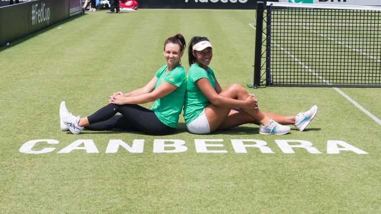 Fed Cup: Casey Dellacqua and Destanee Aiava prepare to face the Ukraine in Canberra on Saturday.