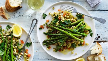 Barbecued asparagus with spiced eggplant salad.
