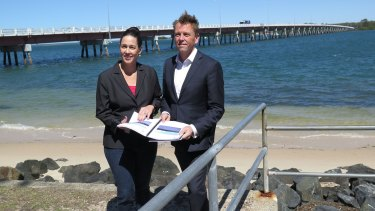 Pumicestone MP Lisa France with Transport and Main Roads Minister Scott Emerson announce a second bridge to Bribie Island.
