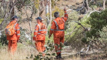 Police and SES searching Werribee Gorge for the missing man.