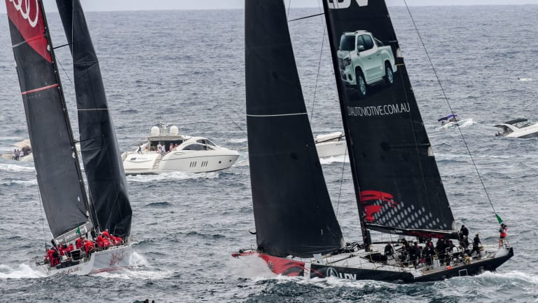 Moment of madness: Wild Oats XI (left) cuts in front of LDV Comanche, leading to a time penalty costing a line honours win.