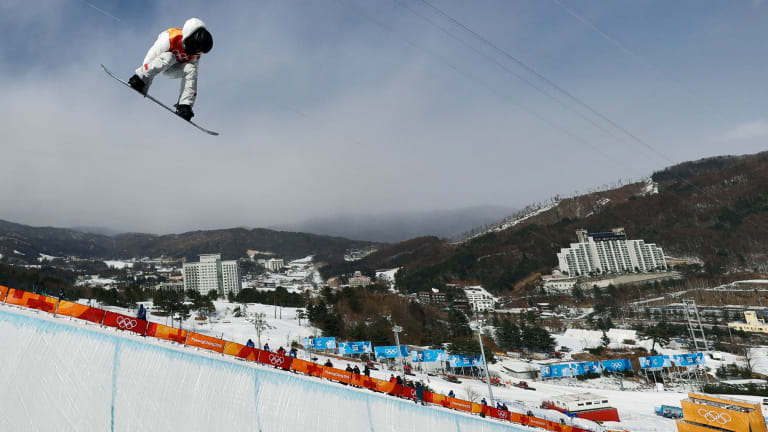 Shaun White competes for the United States.